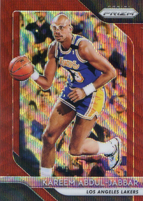 2018-19 Panini Prizm Prizms Ruby Wave Kareem Abdul-Jabbar Los Angeles Lakers