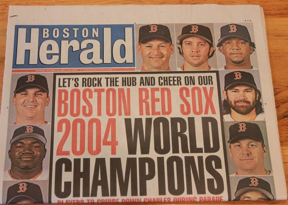 Boston Red Sox 2004 World Series The Boston Herald Entire Newspaper - JM Collectibles