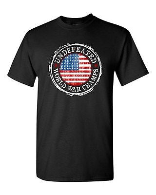Undefeated World War Champ Belt USA America Patriotic Power DT Adult T-Shirt Tee