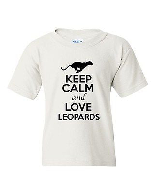 Keep Calm And Love Leopards Wild Big Cat Animal Lover Youth Kids T-Shirt Tee