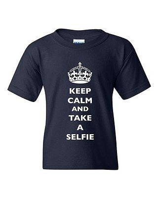 Keep Calm And Take A Selfie Crown King Camera Funny DT Youth Kids T-Shirt Tee