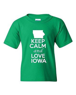 Keep Calm And Love Iowa State Novelty Statement Youth Kids T-Shirt Tee