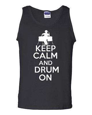 Keep Calm And Drum On Music Humor Novelty Statement Graphics Adult Tank Top