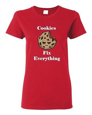 Ladies Cookies Fix Everything Biscuit Pastry Sweet Dessert Snack DT T-Shirt Tee