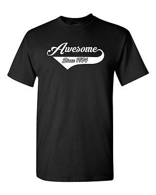 Awesome Since 1974 With Tail Age Happy Birthday Gift Funny DT Adult T-Shirt Tee