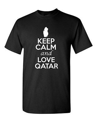 Keep Calm And Love Qatar Country Nation Patriotic Novelty Adult T-Shirt Tee