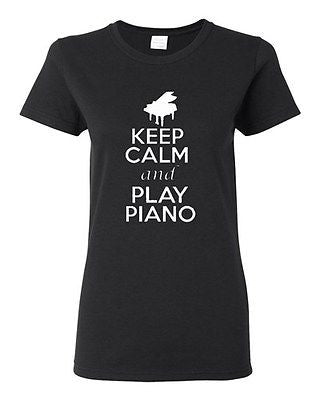 Ladies Keep Calm and Play Piano Pianist Musician Music Lover Jazz T-Shirt Tee