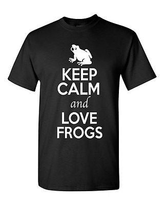Keep Calm And Love Frogs Toad Jump Animal Lover Funny Humor Adult T-Shirt Tee