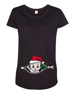 Baby Santa Christmas Zipper Cute Pregnant Expecting Mom Maternity DT T-Shirt Tee