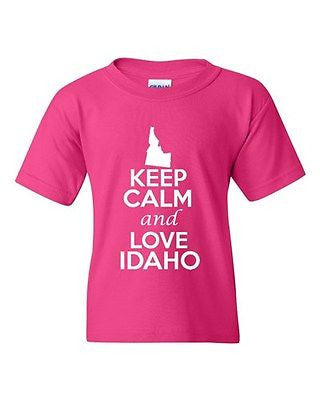 Keep Calm And Love Idaho State Novelty Statement Youth Kids T-Shirt Tee
