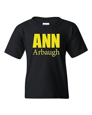 Ann Arbaugh Bold Football Michigan Sports Game Novelty Youth Kids T-Shirt Tee