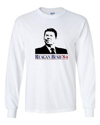 Long Sleeve Adult T-Shirt Ronald Reagan Bush '84 Election Vote Campaign Support