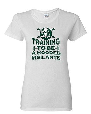 Ladies Training To Be A Hooded Comic Vigilante Arrow TV Series DT T-Shirt Tee