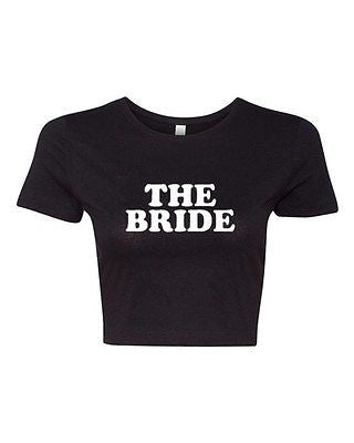 Crop Top Ladies The Bride Wedding Groom Husband Wife Ring Funny T-Shirt Tee
