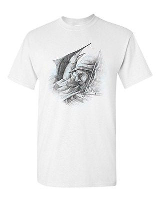 Old Man And The Sea Hemingway Ocean Swordfish Salih Gonenli DT Adult T-Shirt Tee