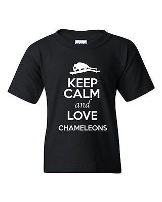 Keep Calm And Love Chameleons Camo Reptiles Animal Lover Youth Kids T-Shirt Tee