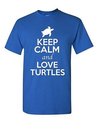 Keep Calm And Love Turtles Tortoise Animal Lover Shell Funny Adult T-Shirt Tee