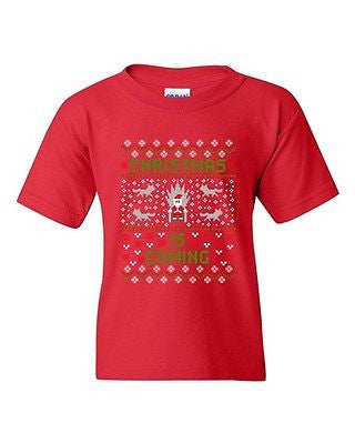 Christmas Is Coming Santa Claus TV Series Funny Parody DT Youth Kids T-Shirt Tee