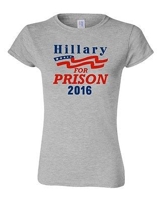 Junior Hillary For Prison 2016 President Election Anti Politics DT T-Shirt Tee