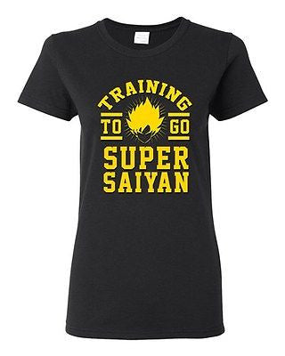Ladies Training To Go Super Saiyan Gym Workout Anime Funny Parody DT T-Shirt Tee