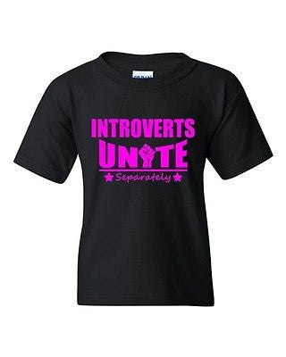 Introverts Unite Separately Funny Humor Novelty Youth Kids T-Shirt Tee