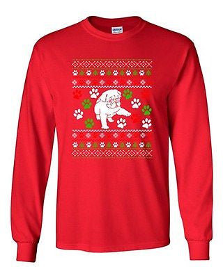 Long Sleeve Adult T-Shirt Dog Puppy Paws Lover Pet Ugly Christmas Humor Funny DT