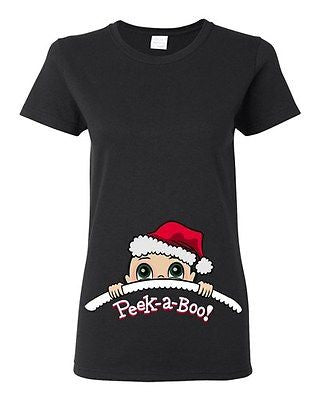Baby Santa Christmas Peek A Boo Cute Babies Novelty Ladies DT T-Shirt Tee
