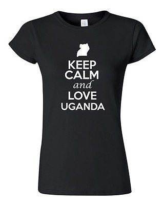 Junior Keep Calm And Love Uganda Country Nation Patriotic Novelty T-Shirt Tee