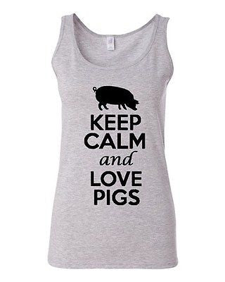 Junior Keep Calm And Love Pigs Animal Lover Graphic Sleeveless Tank Tops