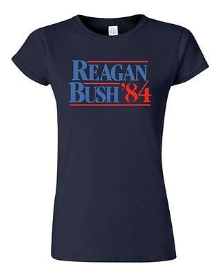 Junior Reagan Bush '84 Election Politic Classic Retro Republican GOP T-Shirt Tee