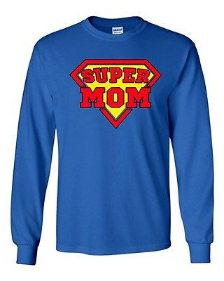 Long Sleeve Adult T-Shirt Super Mom Superhero Hero Mothers Day Gift Funny DT
