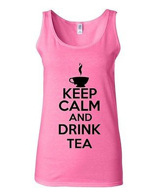 Junior Keep Calm And Drink Tea Beverages Novelty Statement Tank Top