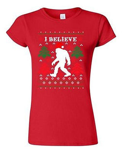 Junior I Believe Sasquatch Big Foot Ugly Christmas Humor Funny DT T-Shirt Tee