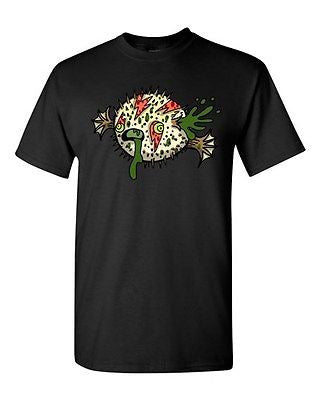 Zombie Blowfish Undead Animals Devil Monster Horror Adult DT T-Shirt Tee