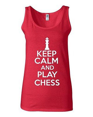 Junior Keep Calm And Play Chess Board Game Novelty Statement Tank Top