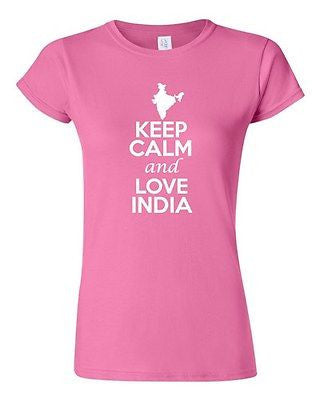 Junior Keep Calm And Love India Country Nation Patriotic Novelty T-Shirt Tee