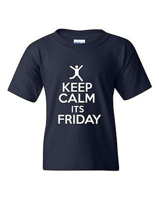 Keep Calm It's Friday Rest Relax Novelty Statement Youth Kids T-Shirt Tee