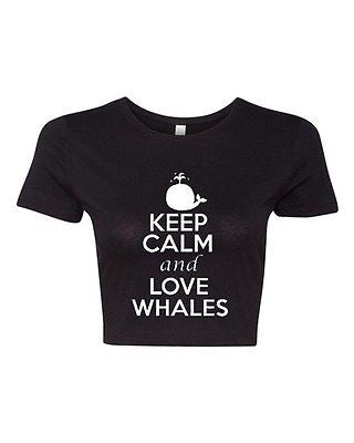 Crop Top Ladies Keep Calm And Love Whales Fish Animal Lover Ocean T-Shirt Tee