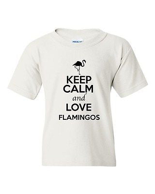 Keep Calm And Love Flamingos Birds Fish Wild Animal Lover Youth Kids T-Shirt Tee
