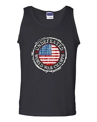 Undefeated World War Champ Belt USA America Patriotic Country DT Adult Tank Top