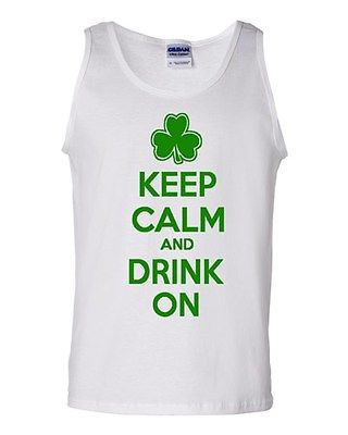 Keep Calm And Drink On Beverages Humor Novelty Statement Graphics Adult Tank Top