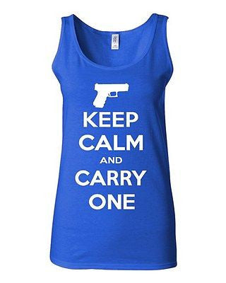 Junior Keep Calm And Carry One Gun Pistol Novelty Statement Graphics Tank Top