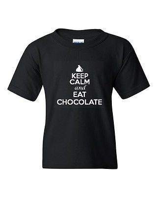 Keep Calm And Eat Chocolate Novelty Youth Kids T-Shirt Tee