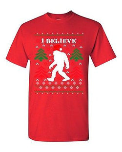 I Believe Sasquatch Big Foot Ugly Christmas Funny Humor DT Adult T-Shirt Tee