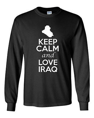 Long Sleeve Adult T-Shirt Keep Calm And Love Iraq Country Nation Patriotic