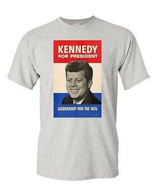 Adult John F. Kennedy 1960 Campaign Poster Retro Vintage DT Funny Humor T-Shirt