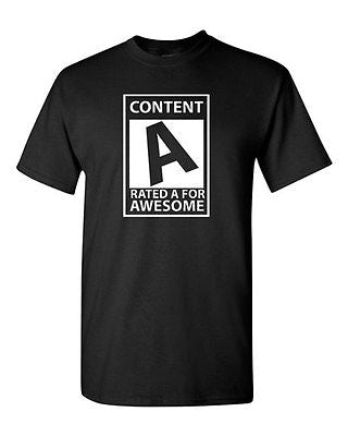 Adult Content Rated A For Awesome Cool Nerdy Funny Humor Parody T-Shirt Tee
