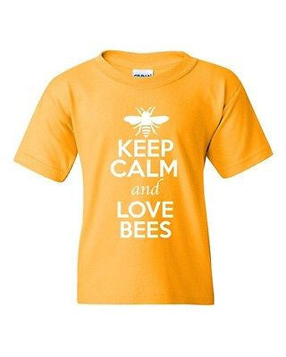 Keep Calm And Love Bees Honey Wasps Insects Animal Lover Youth Kids T-Shirt Tee