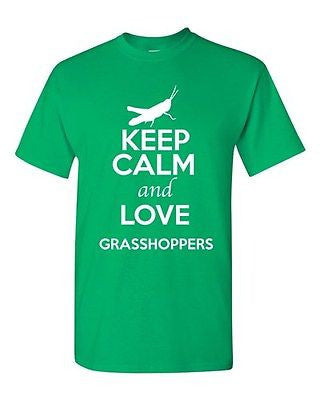 Keep Calm And Love Grasshoppers Mantis Insect Animal Lover Adult T-Shirt Tee