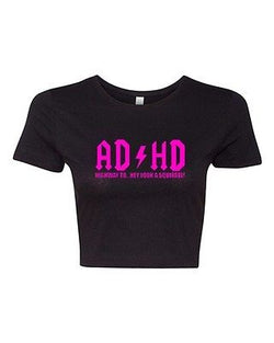 Crop Top Ladies ADHD Highway To... Hey Look A Squirrel Funny Humor T-Shirt Tee